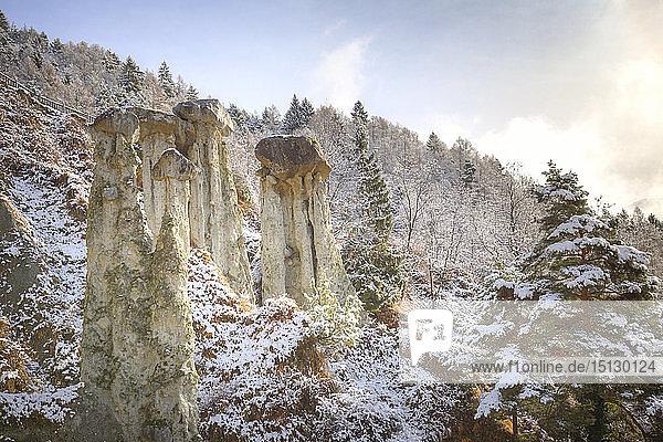 Hoodoos of Postalesio after a snowfall  Postalesio  Valtellina  Lombardy  Italy  Europe