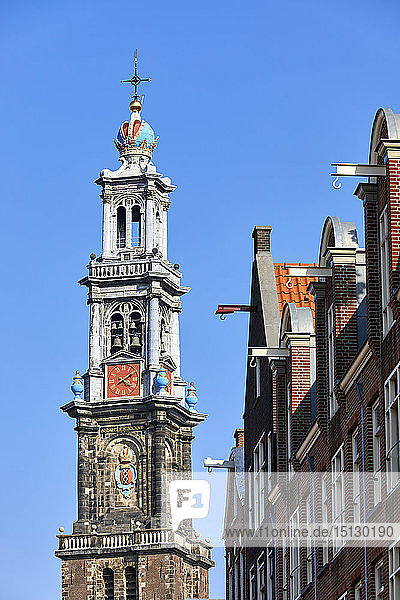 Westerkerk church and townhouse facades  Amsterdam  North Holland  The Netherlands  Europe