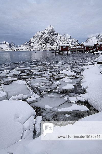 Traditional houses at Reine in winter  Moskenes  in the Lofoten Islands  Arctic  Norway  Europe