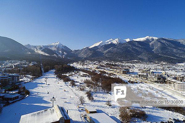 Aerial view of home run winter ski slope  Pirin National Park  UNESCO World Heritage Site  Bansko  Bulgaria  Europe