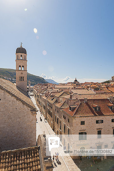 Old town from the city walls  UNESCO World Heritage Site  Dubrovnik  Croatia  Europe