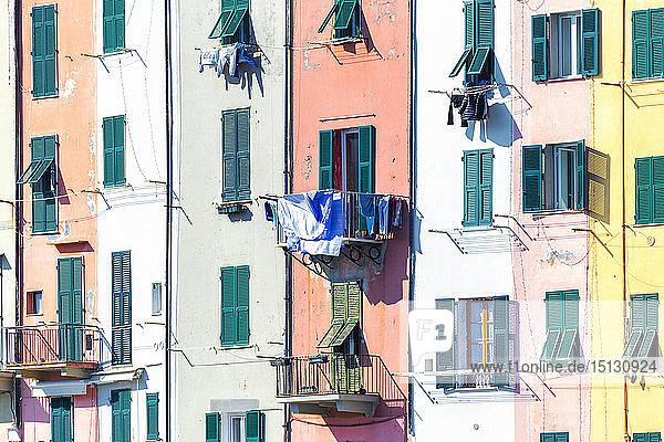 Detail of traditional houses of Porto Venere  Cinque Terre  UNESCO World Heritage Site  Liguria  Italy  Europe
