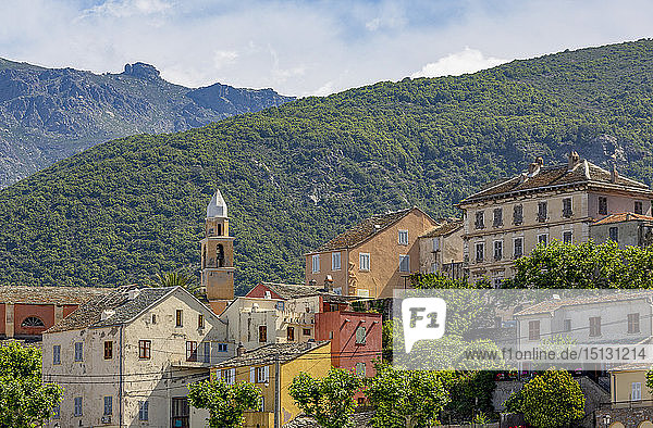 The historic hill village of Nonza on Cap Corse  the most northerly point of Corsica  France  Mediterranean  Europe