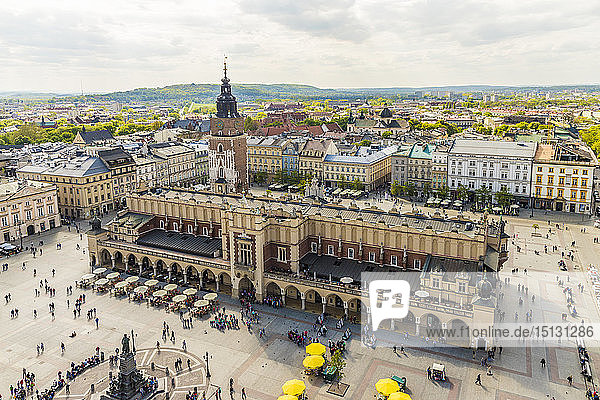 Elevated view of Cloth Hall in the Main Square in the medieval old town  UNESCO World Heritage Site  Krakow  Poland  Europe
