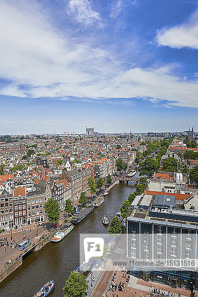 View of the Jordaan and Prinsengracht from the top of Westerkerk church  Amsterdam  North Holland  The Netherlands  Europe