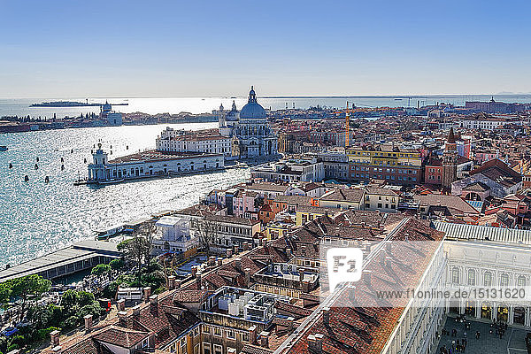 Dorsoduro with Punta della Dogana and Santa Maria della Salute at the Venetian lagoon  seen form St. Marks Campanile  Venice  UNESCO World Heritage Site  Veneto  Italy  Europe