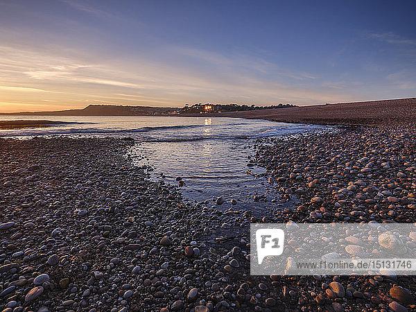 Warm afternoon winter sunset at Budleigh Salterton  Devon  England  United Kingdom  Europe