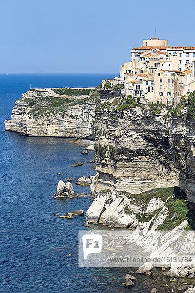The Citadel and old town of Bonifacio perched on rugged cliffs  Bonifacio  Corsica  France  Mediterranean  Europe