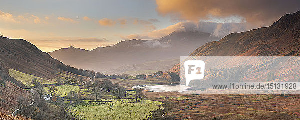 Panoramic Image of view to Blea Tarn in autumn from Side Pike  Langdale Pikes  Lake District National Park  UNESCO World Heritage Site  Cumbria  England  United Kingdom  Europe