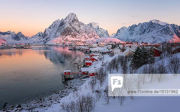 Reine fishing village in winter  Reinefjord  Moskenesoya  Lofoten Islands  Arctic  Norway  Europe