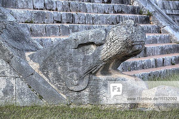 Serpent Head  El Castillo  Chichen Itza  UNESCO World Heritage Site  Yucatan  Mexico  North America