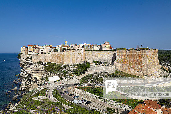 The Citadel and old town of Bonifacio perched on rugged cliffs  Bonifacio  Corsica  France  Mediterranean  Europe