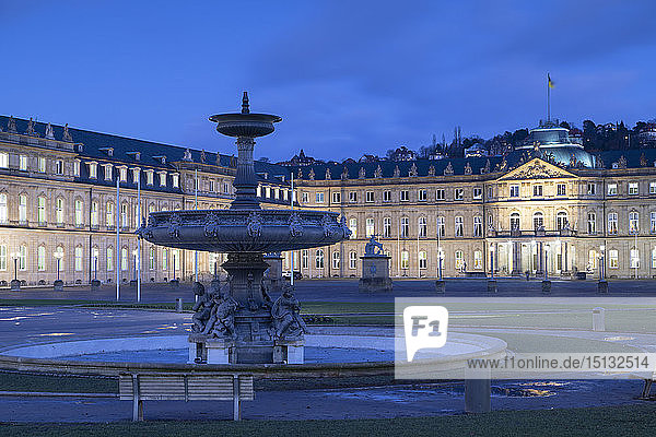 Schlossplatz (Castle Square) and Neues Schloss (New Castle) at dusk  Stuttgart  Baden-Wurttemberg  Germany  Europe