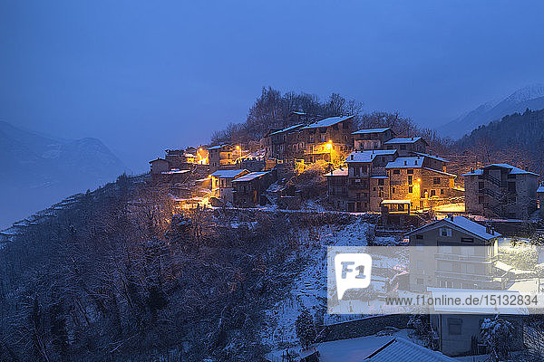 Twilight at the small village of Maroggia  Berbenno di Valtellina  Valtellina  Lombardy  Italy  Europe