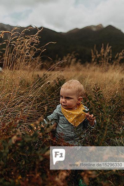 Baby exploring wilderness  Queenstown  Canterbury  New Zealand