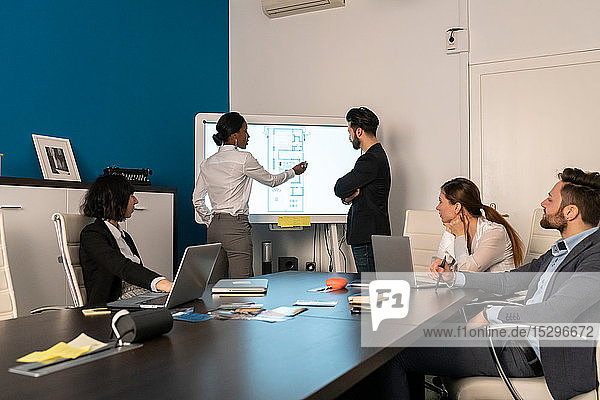 Young female and male business creative team at conference table presentation looking at interactive screen