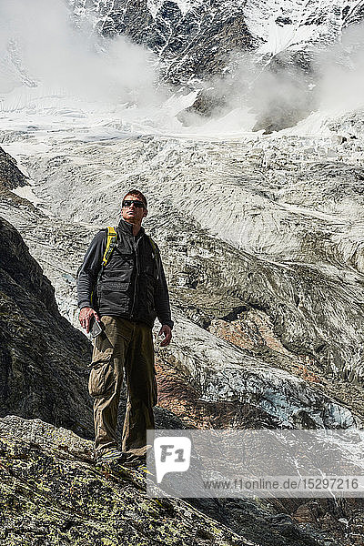 Hiker enjoying walk  Saas-Fee  Valais  Switzerland