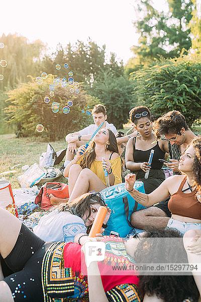 Eine Gruppe von Freunden entspannt sich beim Picknick im Park und bläst Seifenblasen