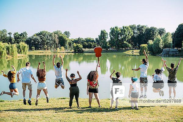 Gruppe von Freunden springt im Park vor den See