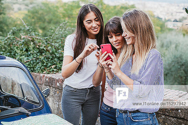 Freunde nutzen Smartphone auf dem Land