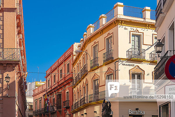 Historical buildings at the old city center with a Flamenco dancer statue  Seville  Spain