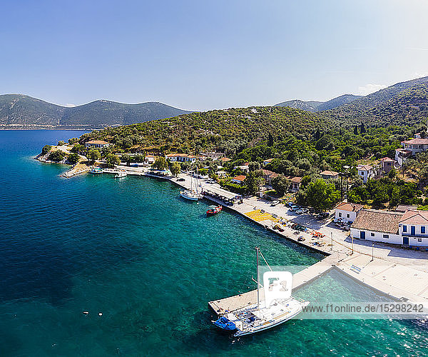 Greece  Aegean Sea  Pagasetic Gulf  Peninsula Pelion  Aerial view of fishing village and bay of Kottes
