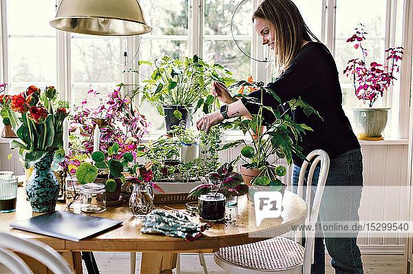 Seitenansicht der Gartenarbeit von Umweltschützerinnen auf dem heimischen Tisch