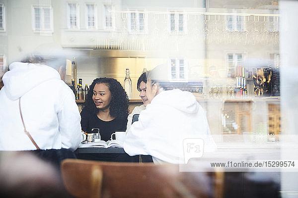 Lächelnde männliche und weibliche Freunde lernen bei Tisch im Café
