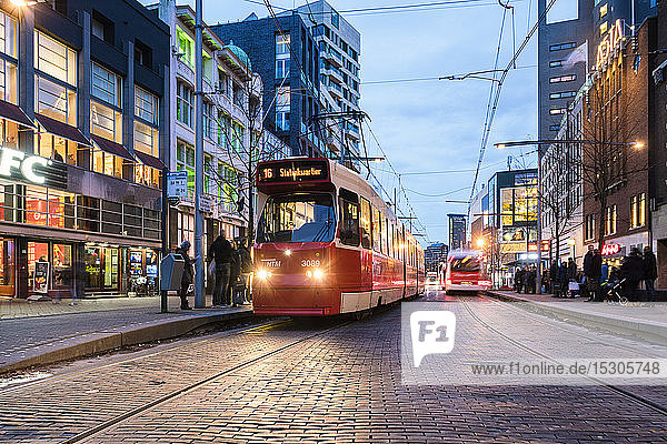 Tram stop in the evening  The Hague  Netherlands