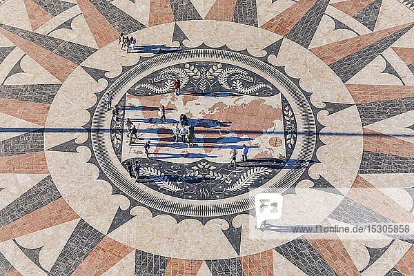 Portugal  Lisbon  Belem  High angle view of compass rose and map mosaic