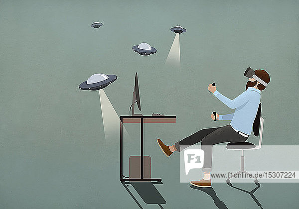 Mann spielt UFO-Videospiel mit Virtual-Reality-Simulatorbrille
