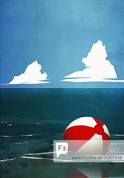 Beach ball floating on ocean