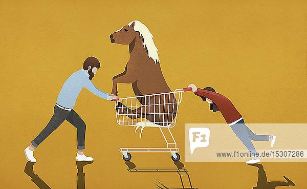 Vater wehrt sich gegen Tochter  die Einkaufswagen mit Pony schiebt