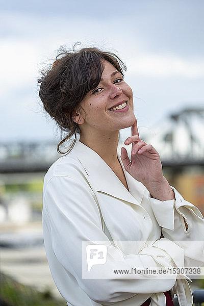 Portrait confident young businesswoman