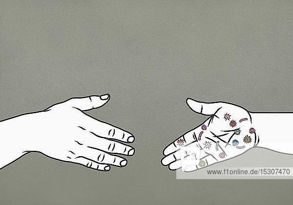 Hand mit Bakterien  die zum Händedruck reicht