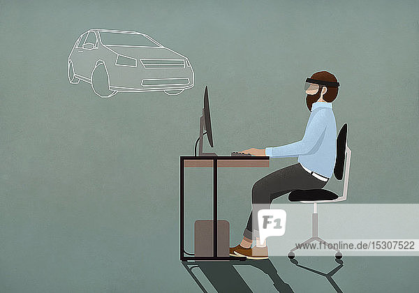 Computerprogrammierer mit Virtual-Reality-Simulator-Brille bei der Arbeit am Computer
