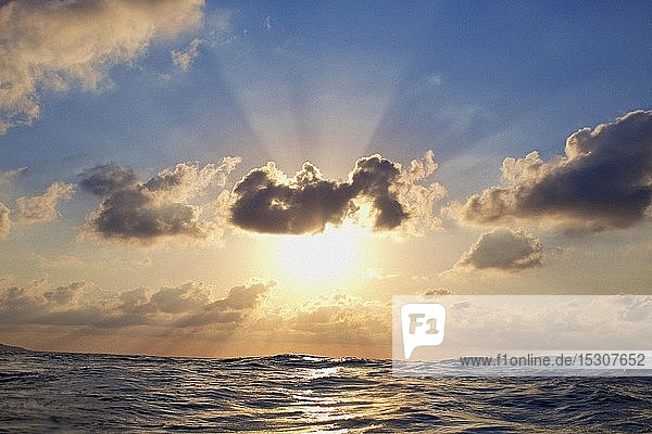 Tranquil sunset in cloudy sky over ocean  Sayulita  Nayarit  Mexico