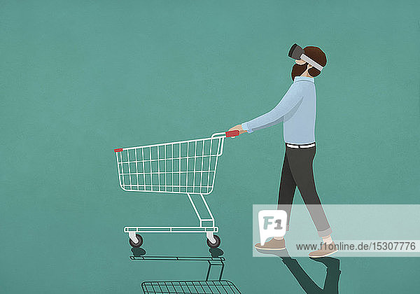 Man with virtual reality simulator pushing shopping cart