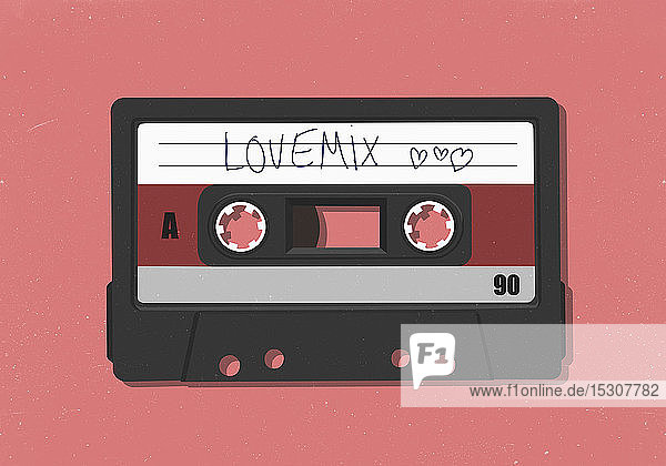 Retro love mix cassette tape