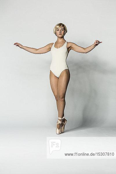 Portrait beautiful  graceful ballerina in leotard
