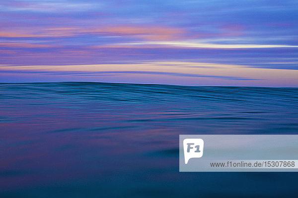 Tranquil blue and pink ocean and sky at sunrise  Sayulita  Nayarit  Mexico