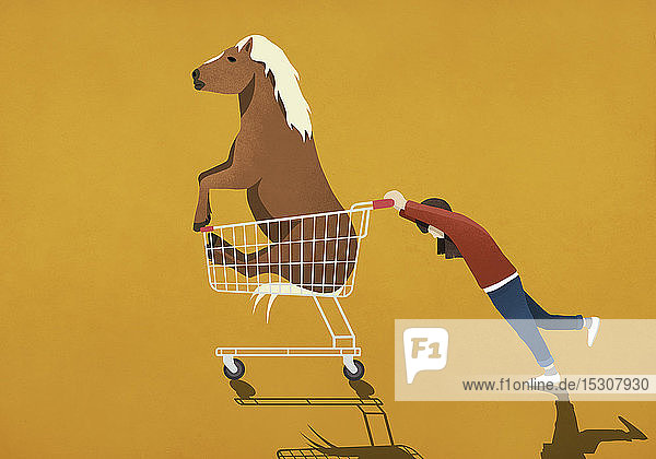 Mädchen schiebt Einkaufswagen mit Pony