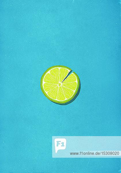Rissige Limettenscheibe vor blauem Hintergrund