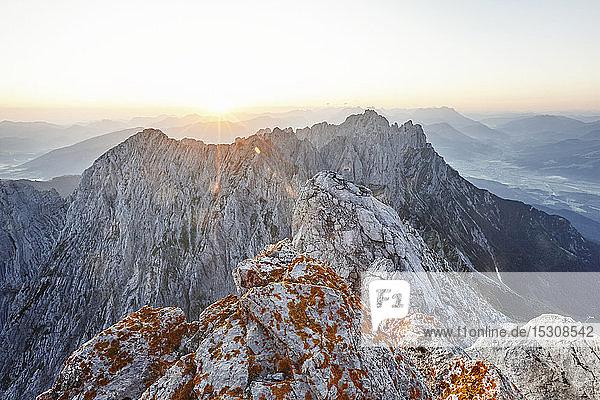 View from Ellmauer Halt at sunrise  Wilder Kaiser  Ellmauer Halt  Tyrol  Austria