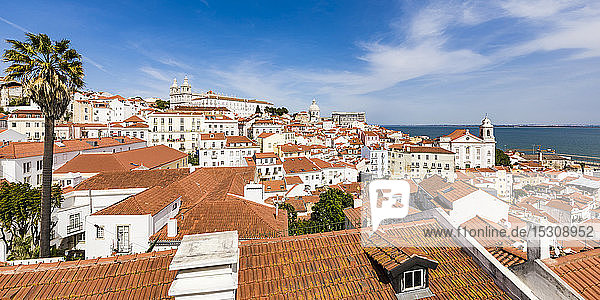 Portugal  Lisbon  View of Alfama district and Tagus river