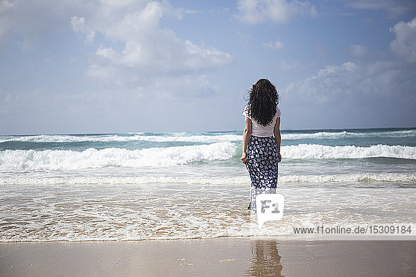 Rückenansicht einer Frau  die am Strand steht und auf das Meer schaut  Fuerteventura  Spanien