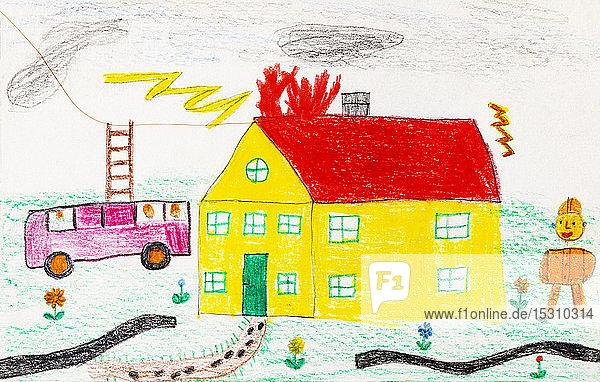 Kinderzeichnung eines Feuerwehreinsatzes