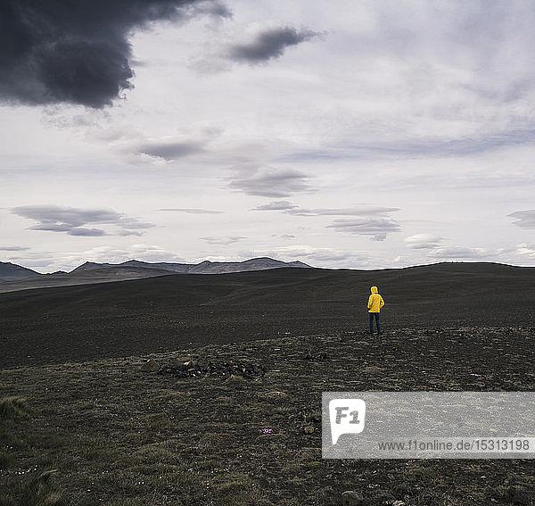 Reifer Mann im isländischen Hochland stehend