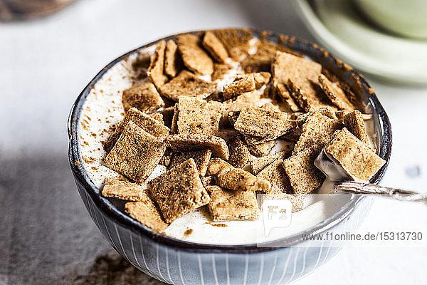 Nahaufnahme von frischem hausgemachtem Zimtgetreide mit Joghurt in der Schale