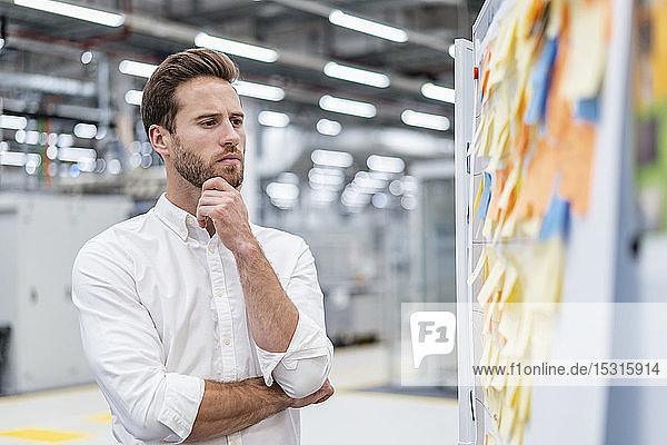 Geschäftsmann betrachtet Haftnotizen auf einer Tafel in einer Fabrik
